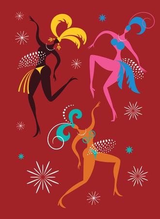 Dancing women. Festive Mood. Brazil carnival. Poster carnival concept. Illustration