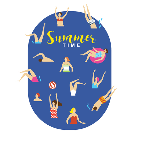 swimmmers in the water, summer illustration Illustration