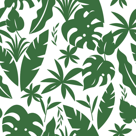 Seamless tropical pattern with palm leaves and green plants in one green color