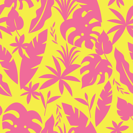Seamless tropical pattern with palm leaves and plants in yellow and pink  color