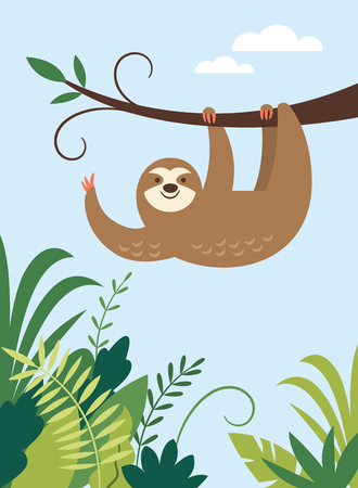 cute adorable sloth hanging on the branch of tree, animal of rainforest Ilustracja