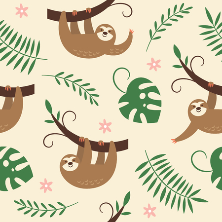 cute sloths hanging on the tree, seamless pattern Çizim