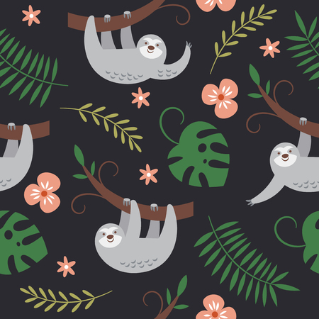 cute sloths hanging on the tree, seamless pattern