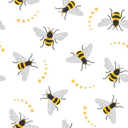 Naadloos patroon met bijen. Bij illustratie