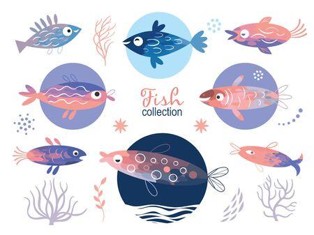 set of stylized unusual  fishes, sea creatures, sea life