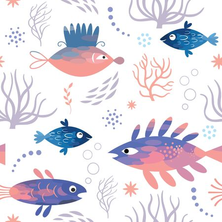 Seamless pattern with unusual fishes, sea creatures, marine life
