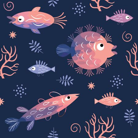 Seamless pattern with fishes, sea creatures