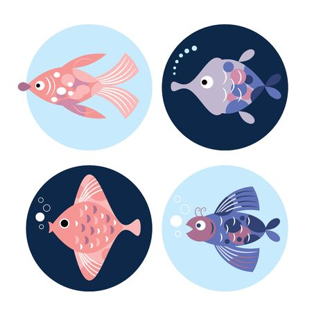 set of stylized unusual  fishes, sea creatures