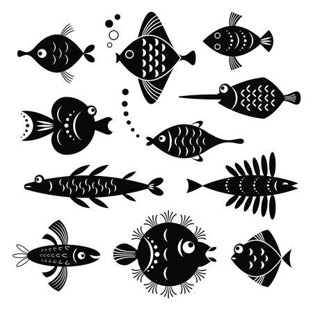 set of black and white stylized fishes Foto de archivo - 126394004