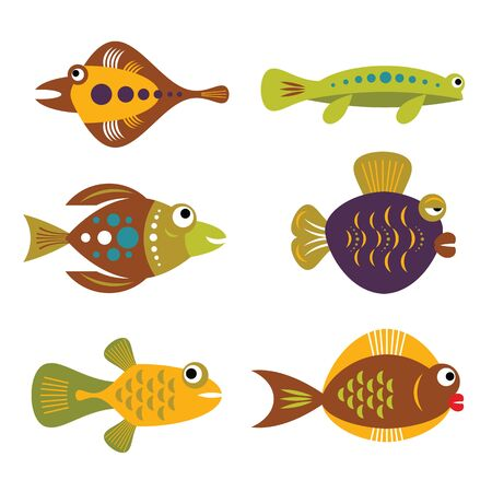 set of tropical unusual colorful fishes