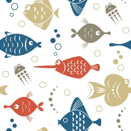seamless pattern with fishes, sea creatures, unusual beautiful fishes