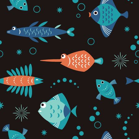seamless pattern with unusual beautiful fishes, black background, sea creatures Stock Illustratie