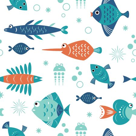 seamless pattern with unusual colorful fishes, sea fantasy creatures Foto de archivo - 128679556