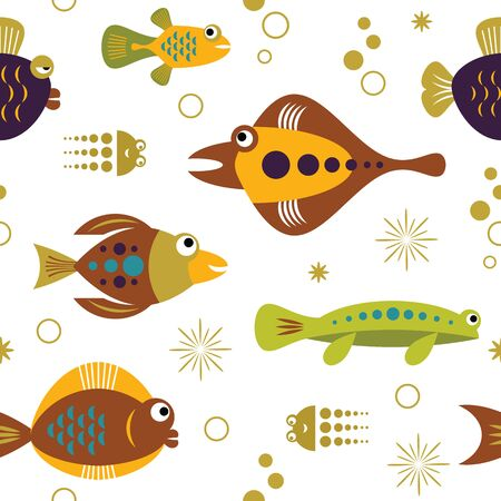 seamless pattern with unusual beautiful fishes, sea creatures Illustration