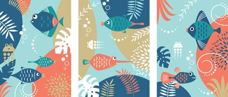 Collection of abstract background designs with tropical fishes 일러스트
