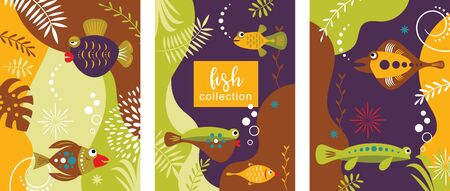 Collection of abstract background designs with tropical fishes Ilustração