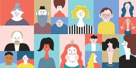 Persone Avatar Face icone, impostare ritratti stilizzati, persone dei cartoni animati