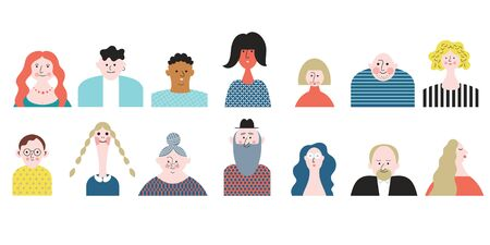 People Avatar Face icons. Set stylized portraites. Group of male and female flat cartoon characters, isolated on white background.