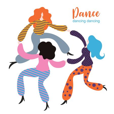 stylized figures of dancing girls, dancing women, group of female