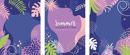 Set of abstract background banners designs, summer sale, summer festival, vector illustration , collection of vertical banners Ilustração