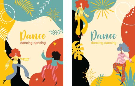 vertical banners with dancing women, stylized figures of dancing people