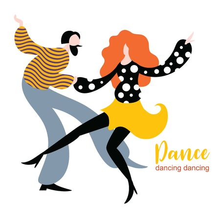 Stylized figures of dancing woman and man, funny dancers, illustration in flat style design