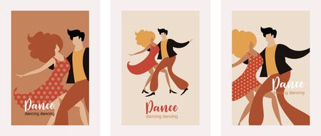set of vertical banners with dancing couple, stylized figures of dancing woman and man