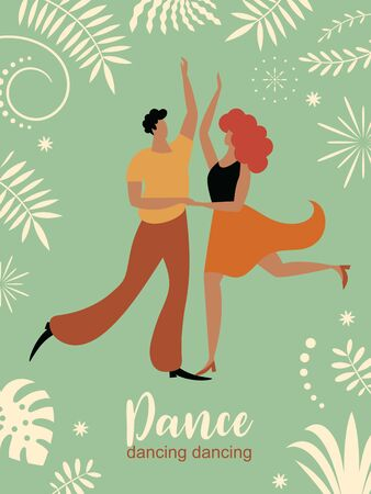 vertical banner with dancing couple, stylized figures of dancing woman and man, ivitation, cover design, poster