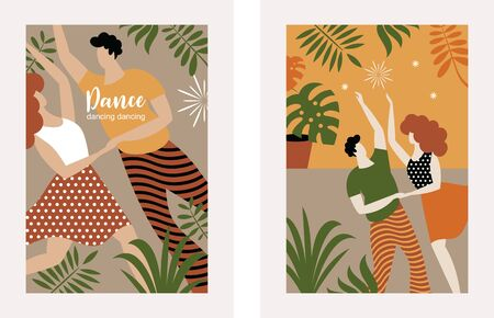 vertical banners with dancing couple, stylized figures of dancing woman and man