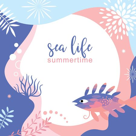 sea life abstract background design , frame ,banner, place for text