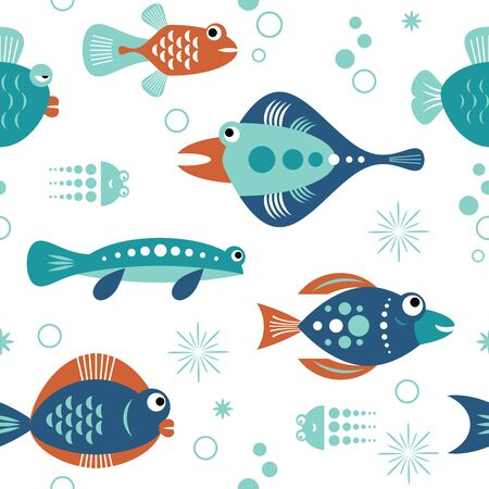seamless pattern with unusual beautiful fishes, white background, sea creatures