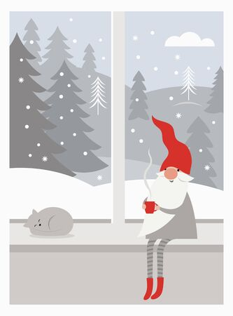 Cute gnome in red hat and in striped stockings is sitting on window sill , drinks hot tea, winter landscape outside the window, Christmas card concept, Merry Christmas