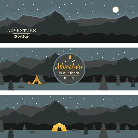 Set of horizontal banners, Adventure and travel theme, night camping, forest and rocky mountains starry  sky