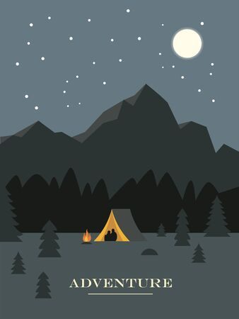 Adventure and travel, night camping, forest and rocky mountains starry  sky
