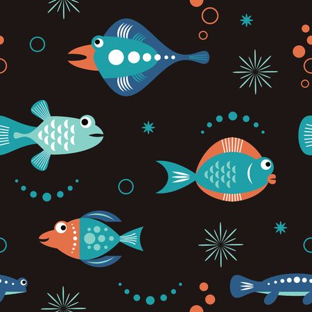 seamless pattern with unusual colorful fishes, sea fantasy creatures