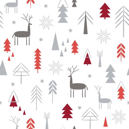 Seamless Christmas pattern. Stylized Christmas deers, snowflakes, forest, Christmas trees,blue  one color background. Idea for stationery design, fabric design