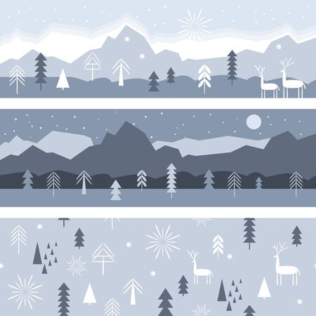 Set of horizontal banners, winter landscape illustration in gray color, seamless pattern, Christmas Deer, Christmas cards idea