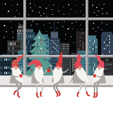Cute gnomes in red hats and in striped stockings is sitting on window sill , drinking hot tea. Winter landscape outside the window, Christmas card concept, Merry Christmas Illustration