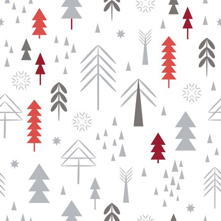 Seamless Christmas pattern. Snowflakes, forest, stylized trees