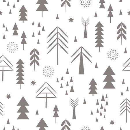 seamless Christmas pattern. Snowflakes, forest, trees 일러스트