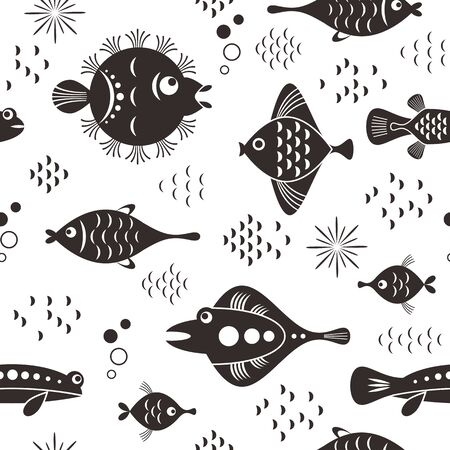 seamless pattern with whimsical black and white fishes