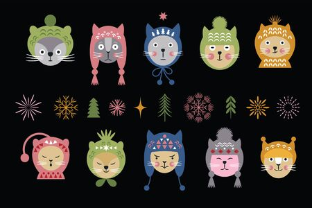 Heads of cats in multicolored winter hats, snowflakes, idea for christmas and new years cards
