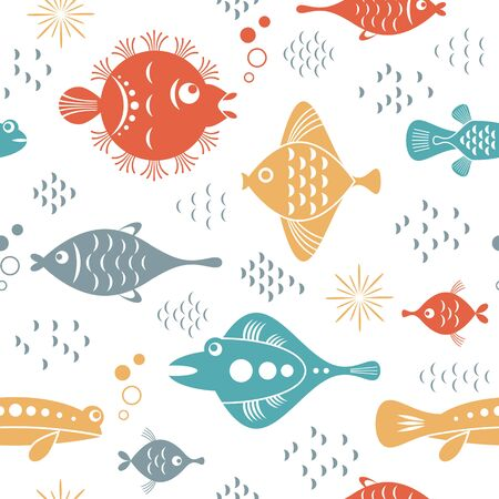 seamless pattern with unusual stylized beautiful fishes, white background, sea creatures