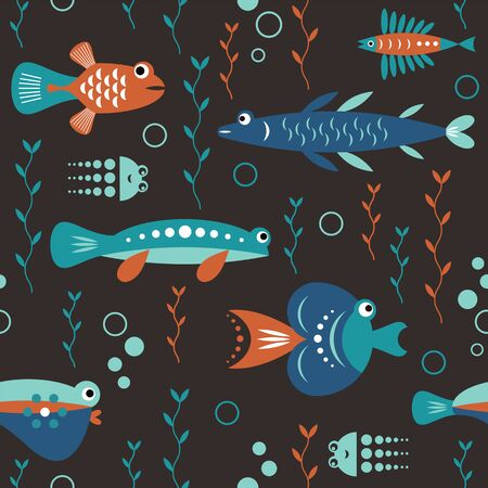 seamless pattern with unusual beautiful fishes, black background, sea creatures Illustration