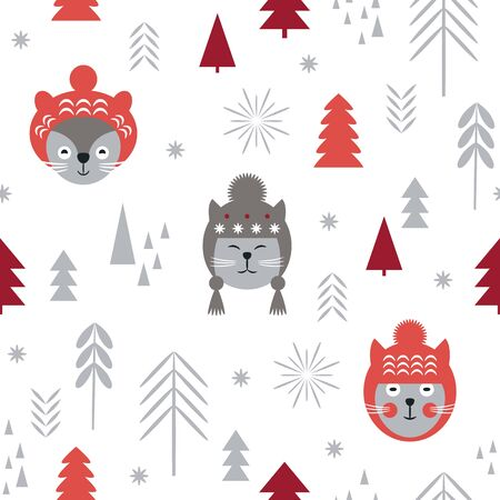Seamless Christmas pattern, stylized trees and  snowflakes. Cats heads in knitted hats. New years background