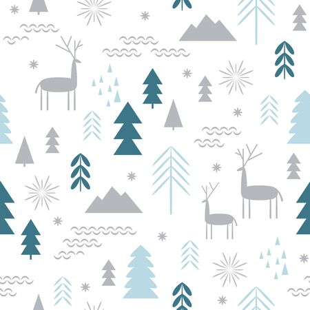 Seamless Christmas pattern. Stylized Christmas deers, snowflakes, forest, trees