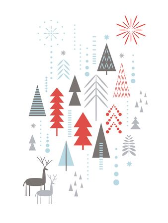 Christmas card . Stylized Christmas deers, snowflakes, forest, Christmas trees Ilustração