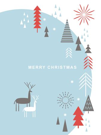 Christmas card . Stylized Christmas deers, snowflakes, forest, Christmas trees, scandinavian style
