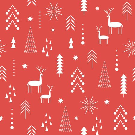 Seamless Christmas pattern. Stylized Christmas deers, snowflakes, forest, trees, one color. Idea for fabric , stationery design