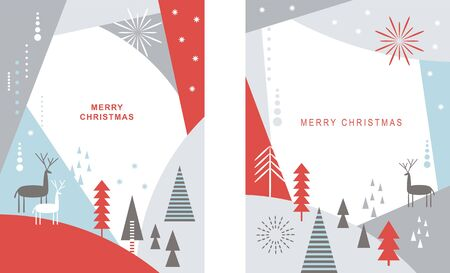 Set of Christmas cards . Stylized Christmas deers, snowflakes, forest, Christmas trees, scandinavian style